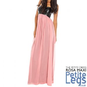Rosa Leatherette Bandeau Maxi Dress with Dusky Pink Lined Chiffon Skirt | UK Sizes 8-14 | Petite Height Select 4ft7 - 5ft5